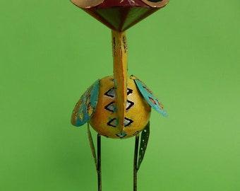 Colorful exotic funny little bird 20 cm Emu bird heron Colorful bird of paradise pond figure garden metal bird sculpture metal figure