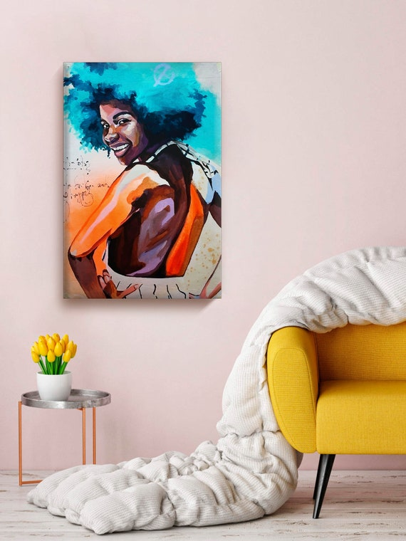 African Woman Canvas Wall Art Cute Lady With Blue Hair Etsy