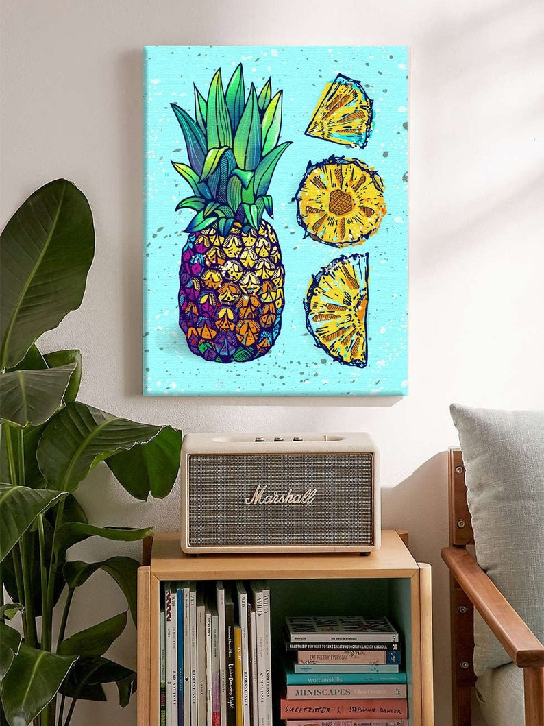 Tropical Fruits Canvas Wall Art Pineapple Pieces Kitchen Decor image 0