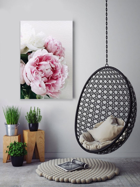 Flower Decals Peony Room Wall Decor Home Decor Ideas Ready to Hang Picture Peony Art Illustration Peonies Canvas Floral Painting.