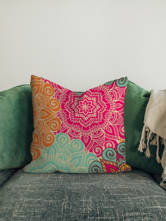 Mandala Decorative Pillow Covers Bohemian Throw Cushion Case Etsy