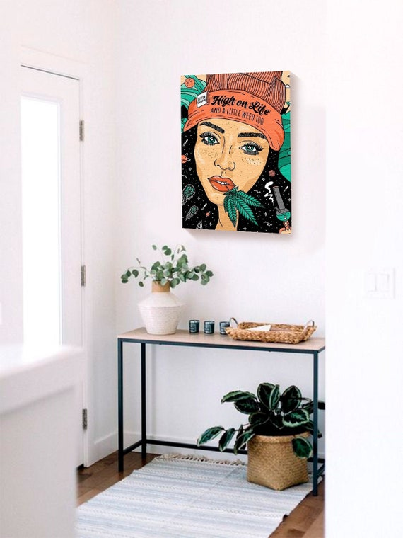 Weed Canvas Wall Art Rasta Girl Home Decor Prints