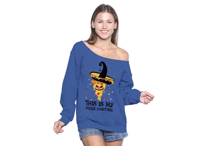 Funny Halloween Sweatshirt Pizza Off Shoulder Tops for Women