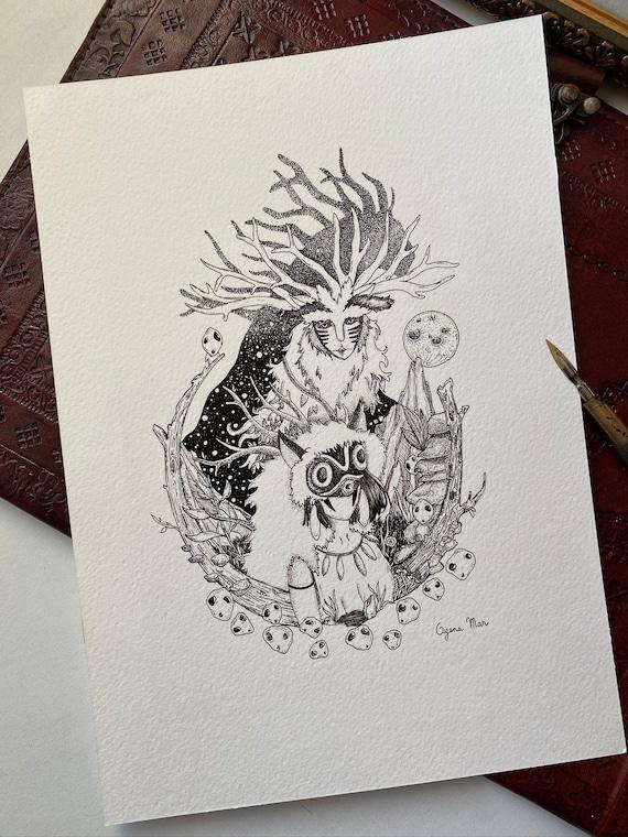 Promo Illustration Miyazaki Princess Mononoke Star Tattoo Etsy