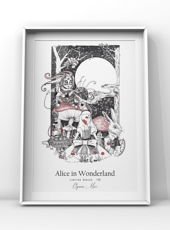 Alice In Wonderland Poster Poster Flowers Ink Drawing Etsy