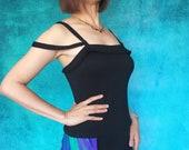 Unique black tango dance top . Strappy jersey tank top . Black Sleeveless Top