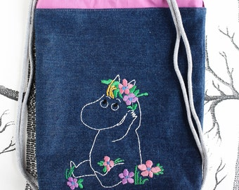 "Children's backpack ""Snorkmaiden"" made of denim, kindergarden bag, gym bag, Moomin, by merlanne"