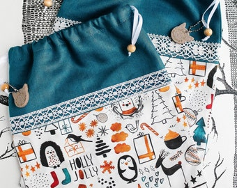 CHRISTMAS gift bag, Christmas wrapping, drawstring giftbag, drawstring bag, zero-waste, sustainable, sewn by merlanne.