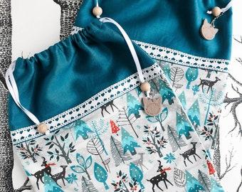 Gift bag WINTERWONDERLAND, gift wrapping, drawstring giftbag, drawstring bag, zero-waste, sustainable, sewn by merlanne.