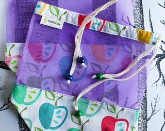 """Reusable fruit and vegetable bag """"APPLE"""", lunch bag, zero waste, food bags, ECO, made by merlanne"""