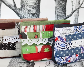 Zipper pouch quilted patchwork zipped case purse cosmetic bag handmade by merlanne