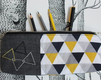 Pencil case TRIANGLES zipped case purse cosmetic bag hand embroidered yellow grey black white Mother's Day gift children womenby merlanne