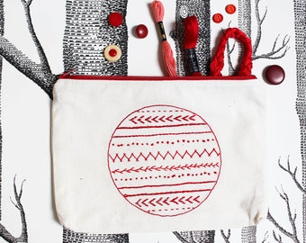 Universal pouch RED hand embroidered vintage zipper pouch school pencil case cosmetic pouch purse wallet Mother's Day gift by merlanne