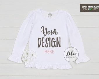 89413ac2c Mockup Photo of blank white kids ruffle long sleeve shirt, blank ruffled  white T-Shirt Mock-up, Blanks Boutique product photos