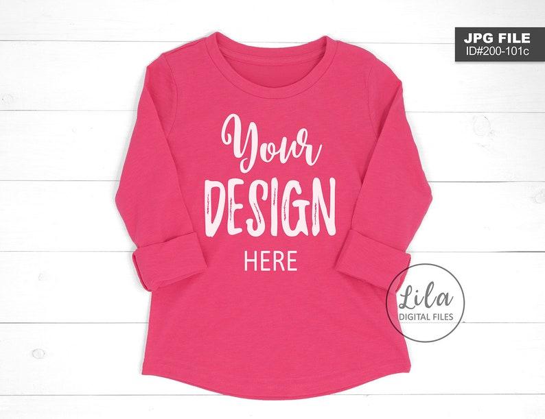 e5a3104ef Long sleeve shirt mock-up / blank hot PINK T-Shirt MOCKUP Pink | Etsy