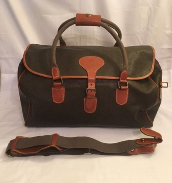 c33fab2dcc5 Items similar to Vintage Mulberry Mole/Cognac Scotchgrain Clipper Holdall  Weekender Bag (Small) on Etsy