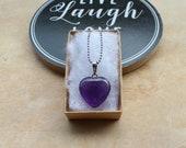 Amethyst Crystal Gemstone Heart Necklace for women