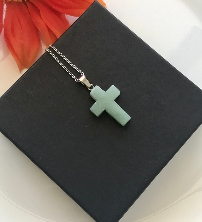 Crystal Jade Cross Natural Gemstones Necklace