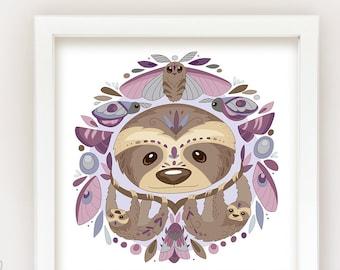 Printable Sloths and Moths square Wall Art Print, PDF Download, Animal Prints, modern nursery decor