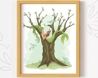 Printable Mermaid Tree wall art, digital Art Print, PDF Download, watercolor mermaid decor, book lover, woodland art print