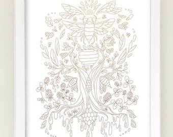 Printable DIY Honey Bee Tree wall art, Botanical woodland forest animal prints, Modern Nursery decor, Children's room