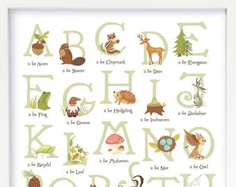 Woodland Animal Alphabet wall art, Forest Animals ABC Nursery, Printable Kid's room decor Digital Download