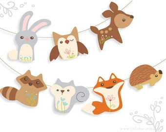 photograph about Free Printable Woodland Animal Templates named Woodland youngster shower decorations Etsy