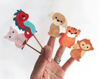 12 printable chinese zodiac animal finger puppets pdf download for chinese new year party decorations scrapbooking and more