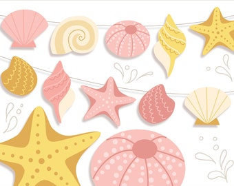 Printable Seashells PDF, PNG, SVG, sea creatures, digital download for Garlands, Party Decorations, Stickers and More
