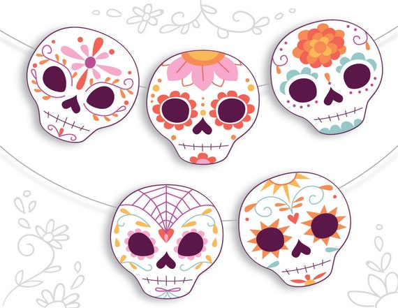 photograph relating to Sugar Skull Printable named Printable Sugar Skull Calavera Working day of the Lifeless social gathering decor PDF, produce Dia de los Muertos Garlands, Signs or symptoms, Playing cards and further more!