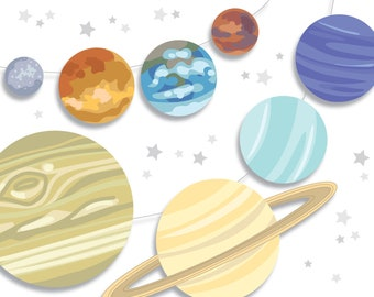 DIY Printable Solar System 8 planets for your Outer Space Galaxy party, make Celestial Garlands, stickers, signs, games and more!