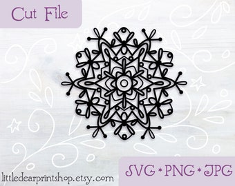SVG Mandala Snowflake cut file for Cricut, Silhouette, PNG, JPG yoga boho clip art