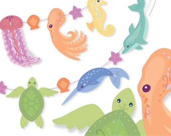 Printable diy Rainbow Sea Creatures Art Banner, PDF, PNG, SVG clip art files for Garland, Octopus, Narwhal, Party Decor, Scrapbooking