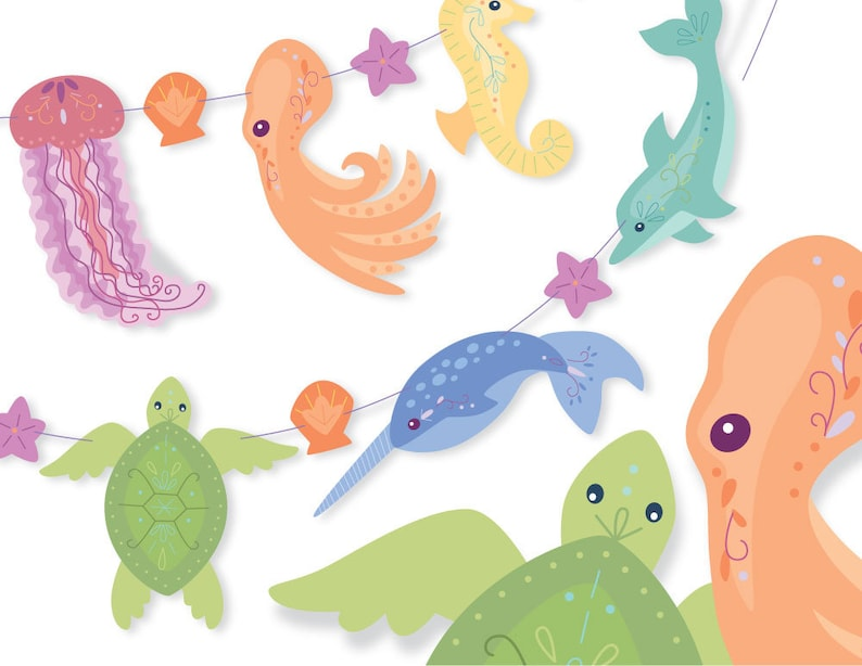 Printable Diy Rainbow Sea Creatures Art Banner Garland Etsy