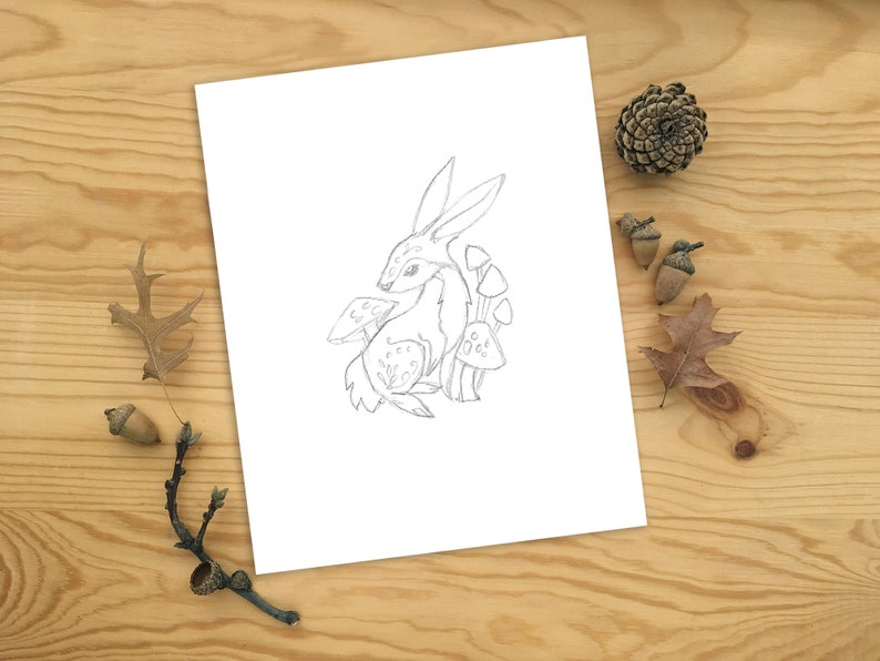Printable PDF download Rabbit Wall art, modern line art drawing, animal  prints, monochrome art, minimalist woodland nursery