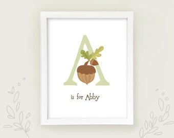 Personalized Baby Shower gift, Woodland Animals nursery decor Baby name art print