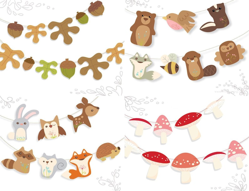 image regarding Printable Woodland Animals named Printable Woodland Pets Bash Decorations PDF, SVG, PNG electronic downloads, minimize data files for cricut and silhouette, do-it-yourself social gathering decor and additional!