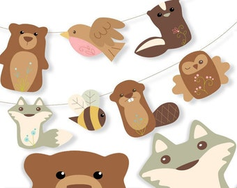 Printable Woodland animal PDF, SVG, PNG digital files to make Party Decor, Garlands, Signs, Finger Puppets, Cards, Cupcake Toppers, more!