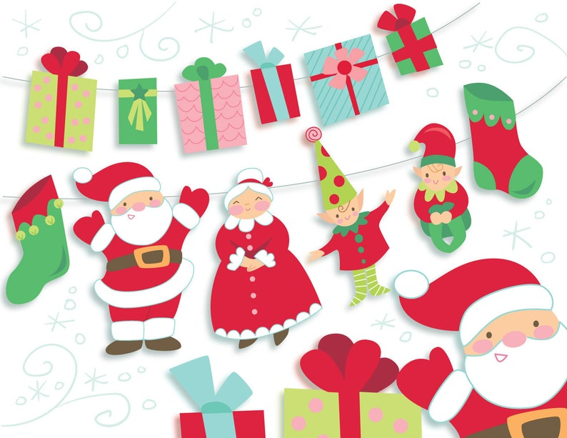 graphic about Printable Pictures of Santa Claus named Do it yourself Printable Santa Claus, Elves and Provides common style and design Xmas Garland and social gathering decor