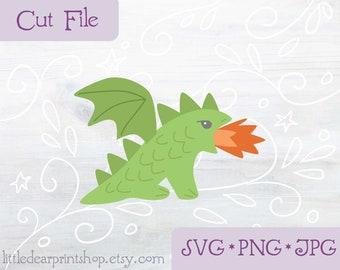 SVG Cute Dragon cut file for Cricut, Silhouette, PNG, JPG fantasy clip art