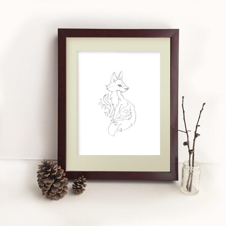Printable PDF download Fox Wall art, minimalist woodland nursery, modern  line art drawing, animal prints, monochrome art