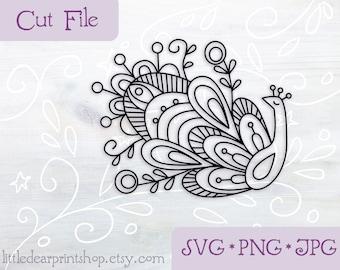 SVG Peacock floral cut file for Cricut, Silhouette, PNG, JPG mandala clip art