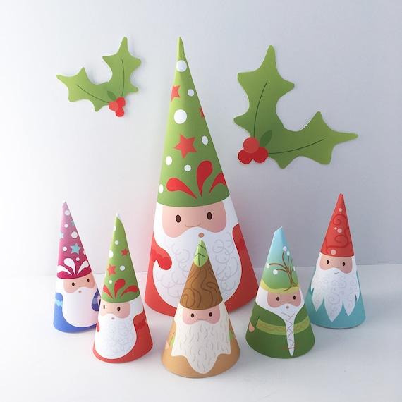 Christmas Gnomes Diy.Printable Woodland Gnomes Diy Digital Art Files Pdf Png Svg Santa Claus Garland Christmas Holiday Decorations Finger Puppets Ornaments