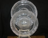 Heavy Cut Glass Avon Crystal Plates-Set of 3- Commemorative 1970 Dessert Salad Masonic Victorian Vintage Glass Diamond Pattern Clear Glass