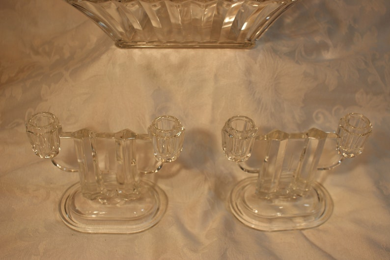 Square  Large Clear Glass Bowl Candle Holders ... Vintage Art Deco Glass ....
