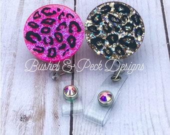 Glitter badge reel, leopard badge reel, personalized badge reel, nurse badge reel, custom badge reel, badge reel