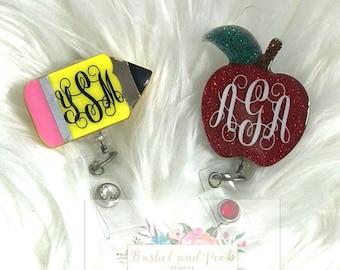 Glitter badge reel, Monogram badge reel, personalized badge reel, teacher badge reel, custom badge reel, badge reel