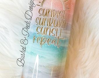 Sunset Beach glitter tumbler/beach glitter tumbler/sunrise sunburn sunset repeat/glitter yeti/ glitter tumbler
