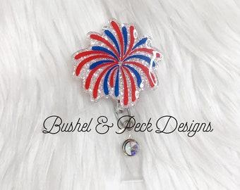 4th of July glitter badge reel, fireworks badge reel, personalized badge reel, nurse badge reel, custom badge reel