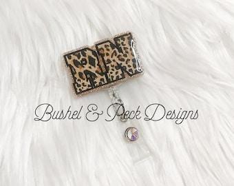 Glitter badge reel, rn badge reel, leopard badge reel, nurse badge reel, custom badge reel, Registered nurse badge reel, leopard